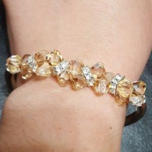 Silver toned, beaded fashion bracelet